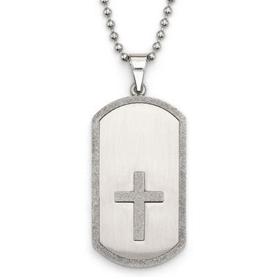 Stainless Steel Cut-Out Cross Dog Tag