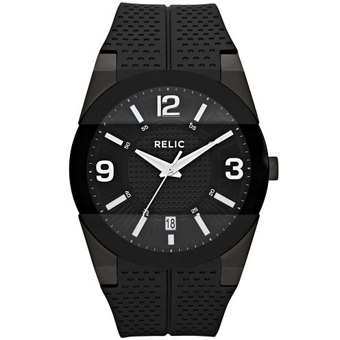 Relic® Mens Black Silicone Strap Watch ZR11972