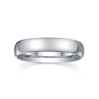 Womens 4mm Silver Domed Wedding Band Ring