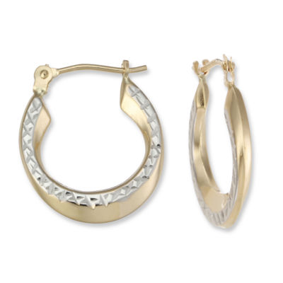 14K Gold Two-Tone Hoop Earrings