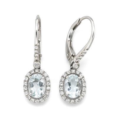 Sterline Silver Genuine Aquamarine & Lab-Created White Sapphire Leverback Earrings