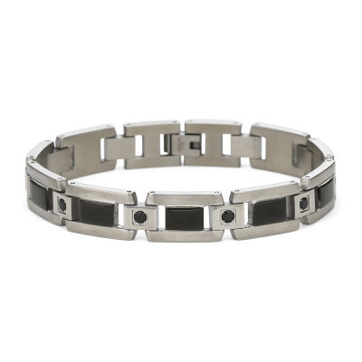 Mens Bracelet, Black Diamonds Stainless Steel