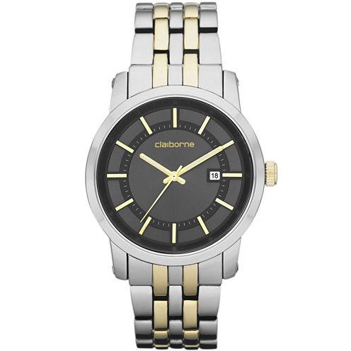 Claiborne Mens Two-Tone Watch