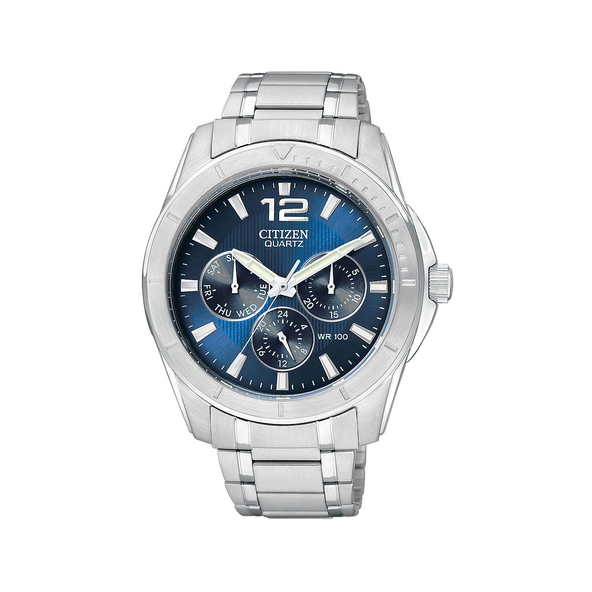 Citizen Mens Blue Dial Silver-Tone Watch AG8300-52L