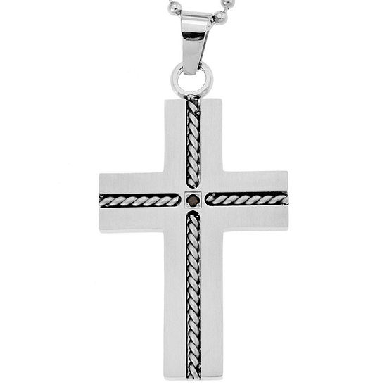 Stainless Steel Cross Pendant Necklace with Diamond Accent