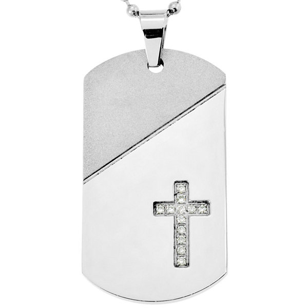 Stainless Steel 1/10CT. T.W. Diamond Cross Dog Tag