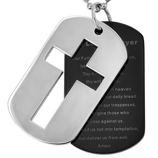 Stainless Steel Lords Prayer Cross Dog Tags