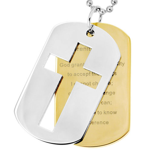 "Stainless Steel ""Serenity Prayer"" & Cross Dog Tags"