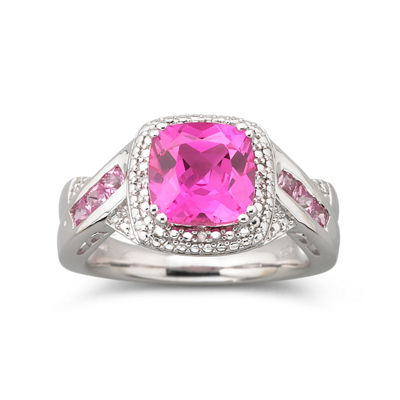 Cushion Pink Sapphire & Diamond-Accent Ring