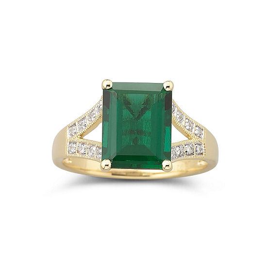 14K Gold-Plated Lab Created Emerald & White Sapphire Ring