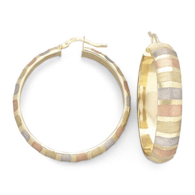 14K Tri-Tone Gold Over Silver Hoop Earrings