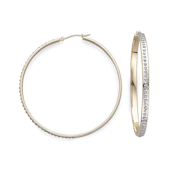 Diamond Fascination™ 18K Yellow Gold Over Sterling Silver Hoop Earrings
