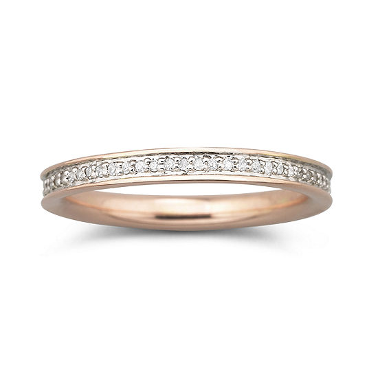 Womens 1/5 CT. T.W. Genuine White Diamond 18K Gold Over Silver Cocktail Ring