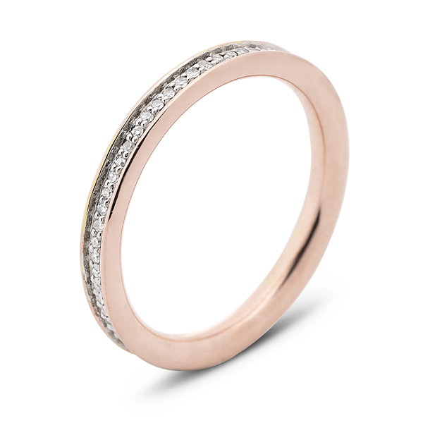 Personally Stackable 1/5 CT. T.W. Diamond Rose Gold over Silver Band