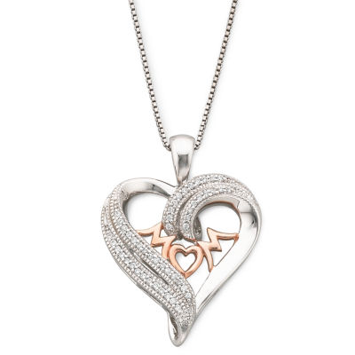 1/10 CT. T.W. Diamond Heart Mom Pendant Necklace