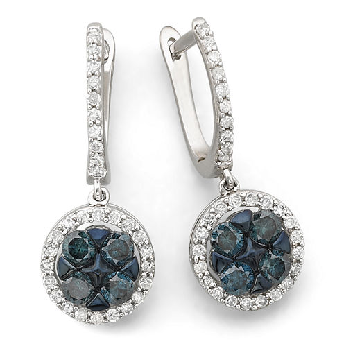 1 CT. T.W. Blue & White Diamond Flower Earrings