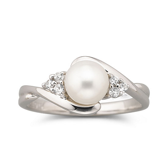 Cultured Freshwater Pearl Ring w/ White Sapphires