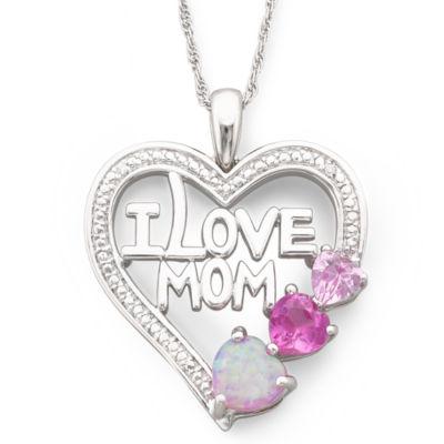 "Multi-Gemstone ""I Love Mom"" Heart Pendant Necklace"