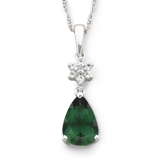 Lab-Created Emerald & Lab-Created White Sapphire Pendant Necklace