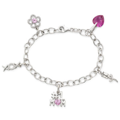 Pink Sapphire & Diamond-Accent Mom Charm Bracelet