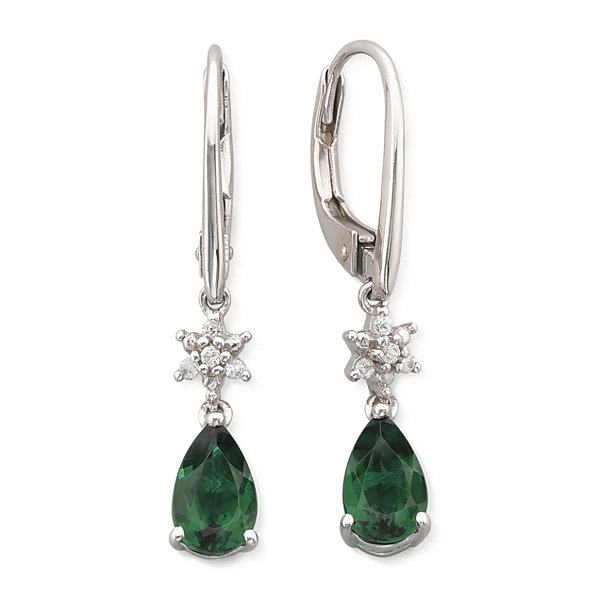 Lab Created Emerald & White Sapphire Drop Earrings