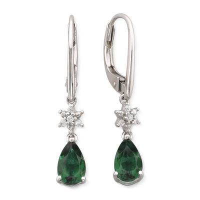Lab-Created Emerald & Lab-Created White Sapphire Drop Earrings