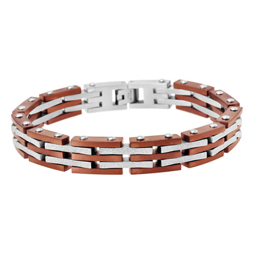 Mens Two-Tone Stainless Steel Bracelet