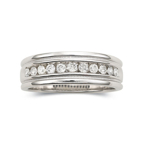 Mens 1 CT. T.W. Diamond Ring Milgrain Sterling Silver