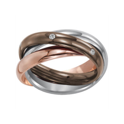 Womens 3mm Tri-Color Stainless Steel Rolling Ring