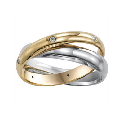 Womens 3mm Two-Tone Stainless Steel Rolling Ring