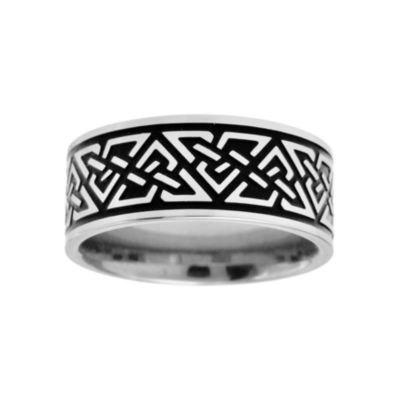 Mens 9mm Stainless Steel Celtic Knot Ring