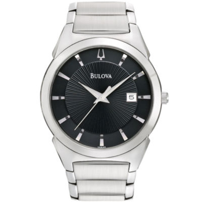 Bulova® Mens Black-Dial Silver-Tone Watch