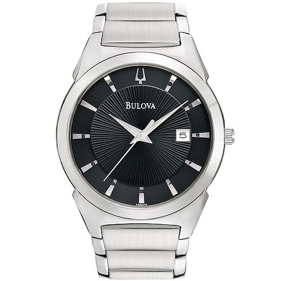 Bulova Classic Mens Silver Tone Stainless Steel Bracelet Watch 96b149