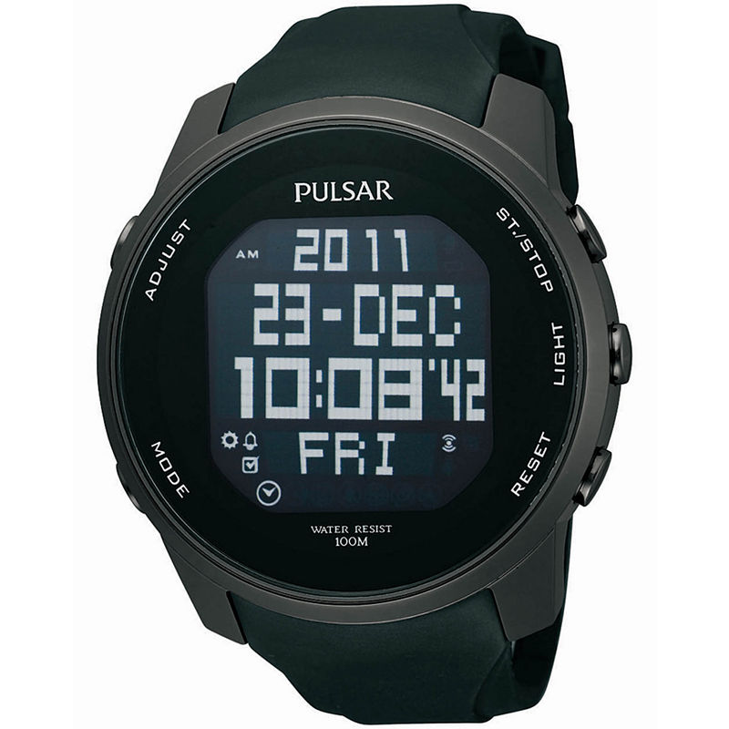 Pulsar Mens Black Sports Digital Watch PQ2011