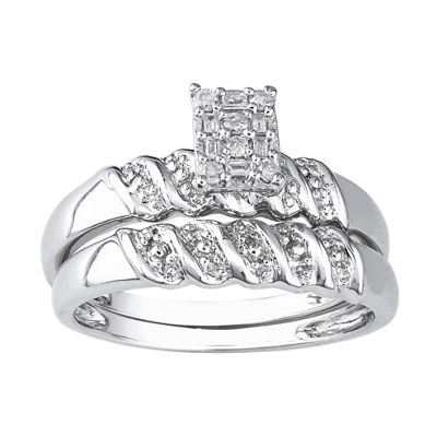 1/10 CT. T.W. Sterling Silver Diamond Bridal Ring Set