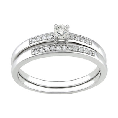 1/5 CT. T.W. Diamond Bridal Ring Set, Sterling Silver