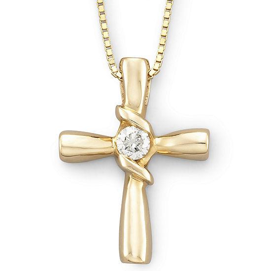 Sirena® 1/10 CT. T.W. Diamond Cross Pendant 14K Gold Necklace