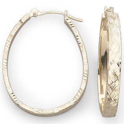10K Gold Pear Hoop Earrings