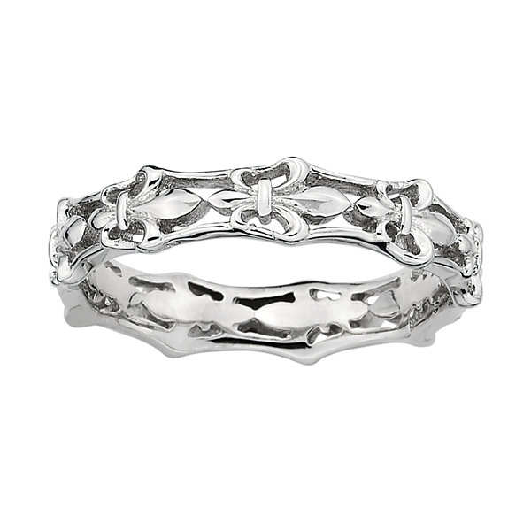 Personally Stackable Sterling Silver Fleur-De-Lis Ring
