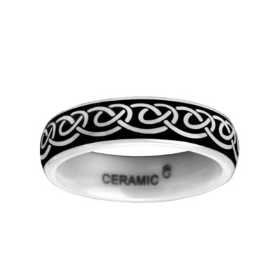 6mm Black and White Ceramic Ring
