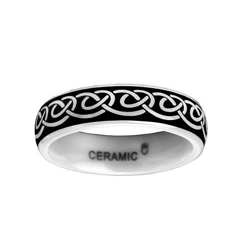 6mm Black and White Ceramic Ring