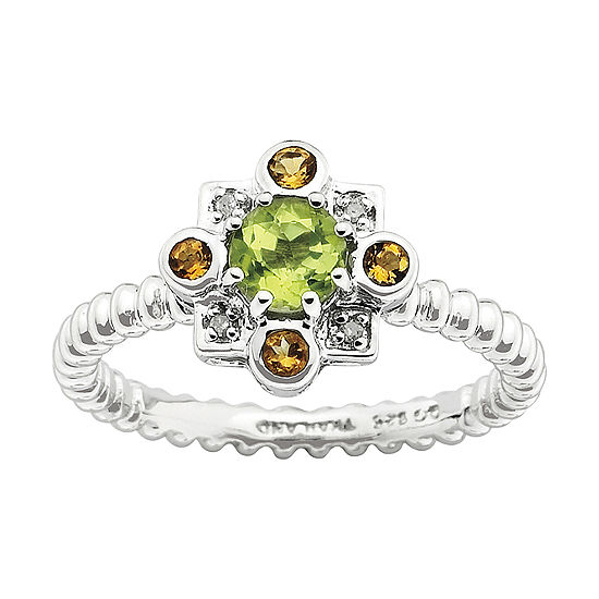 Womens Genuine Green Peridot Sterling Silver Flower Stackable Ring
