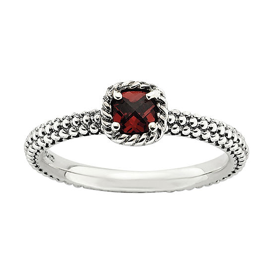 Womens 1/3 CT. T.W. Genuine Multi Color Stone Sterling Silver Stackable Ring