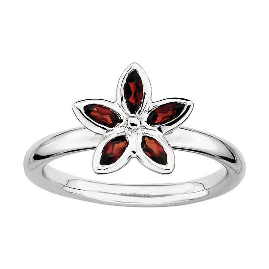 Sterling Silver Gemstone Flower Stackable Ring