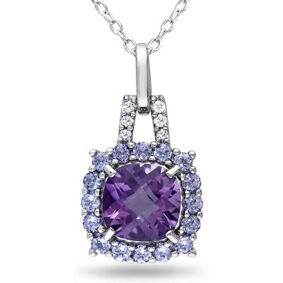 Genuine Amethyst & Tanzanite Pendant Necklace