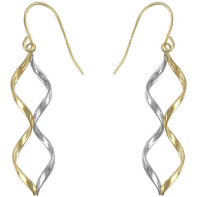 10K Two-Tone Twisted Drop Earrings