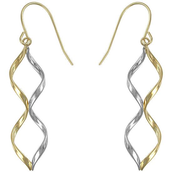 10K Two-Tone Twisted Drop Earrings