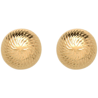 10K Gold Dome Button Earrings