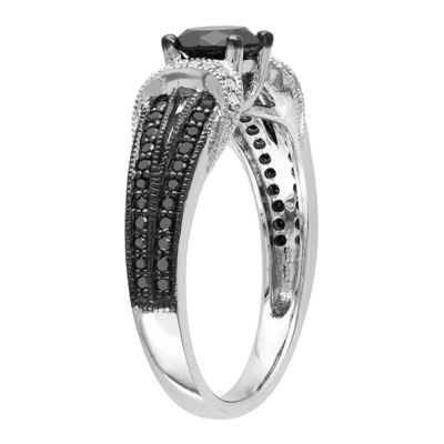 Midnight Black Diamond 1 CT. T.W. Black & White Bridal Ring In 10K White Gold