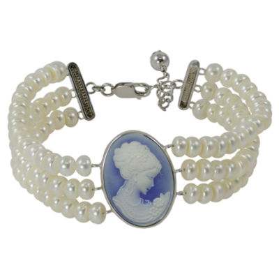 Cultured Freshwater Pearl & Blue Cameo Bracelet